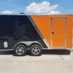 7x14 TA Trailer - Orange and Black, Ramp, Side Door, Extra Height, Side Vents and Mag Wheels