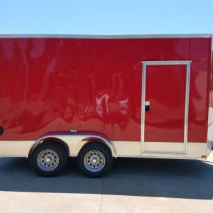 7x14 TA Trailer - Red, Ramp, Side Door, Extra Height, Side Vents