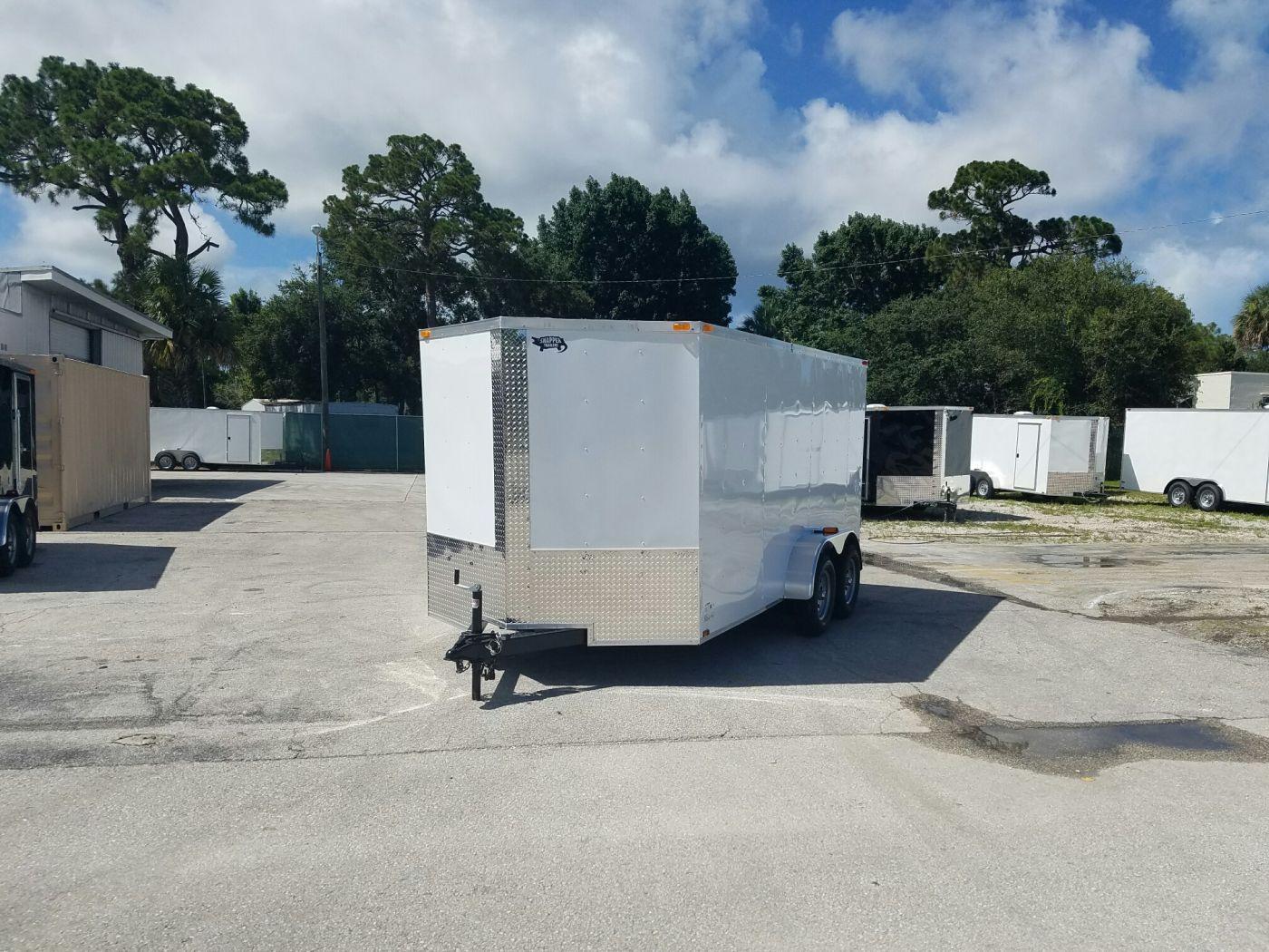 7x14 TA Trailer - White, Barn Doors, Side Door, Extra ...