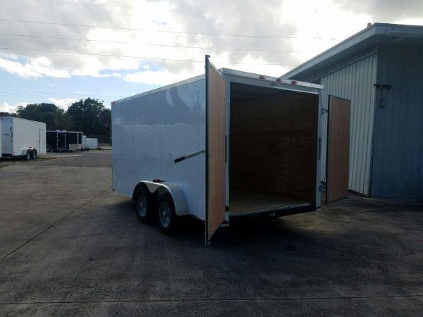 7x14 TA Trailer - White, Barn Doors, Side Door, Extra Height