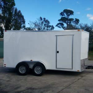 7x14 TA Trailer - White, Barn Doors, Side Door, Extra Height