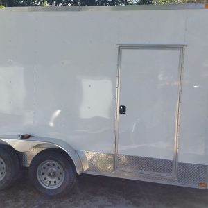 7x14 TA Trailer - White, Ramp, Side Door, Extra Height, ATP Wrap