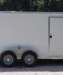 7x14 TA Trailer - White, HD Ramp, Side Door, Extra Height, Upgraded Flooring