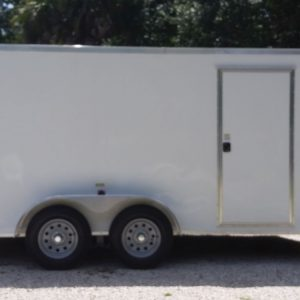 7x14 TA Trailer - White, HD Ramp, Side Door, Extra Height, Upgraded Flooring