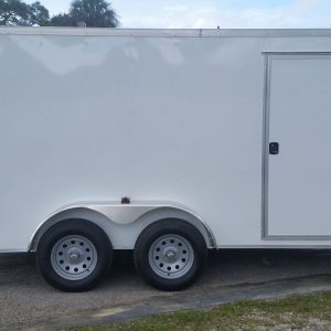 7x14 TA Trailer - White, Ramp, Side Door, Extra Height, Side Vents