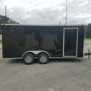 7x16 TA Trailer - Black, Barn Doors, Side Door, Extra Height