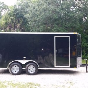 7x16 TA Trailer - Black, Ramp, Side Door, Extra Height