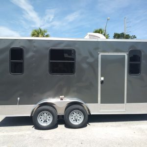 7x16 TA Trailer - Charcoal, Barn Doors, Side Door, Electrical, Extra Height, AC, Windows