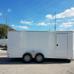 7x16 TA Trailer - White, Barn Doors, Side Door, Extra Height