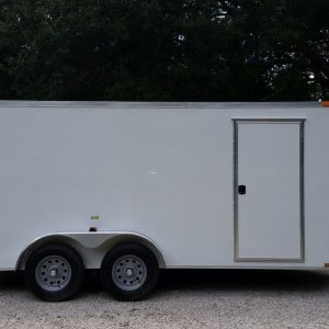 7x16 TA Trailer - White, Ramp, Side Door, Extra Height