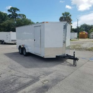 7x16 TA Trailer - White, Ramp, Side Door, Extra Height, Extended Tongue