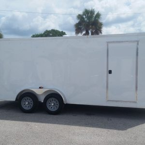 7x18 TA Trailer - White, Ramp, Side Door, Extra Height