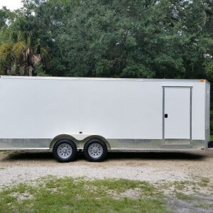 7x20 TA Trailer - White, Ramp, Side Door, Extra Height, ATP Wrap