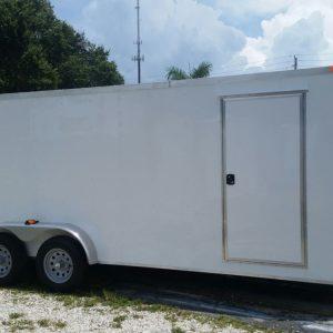 7x20 TA Trailer - White, Ramp, Side Door, Extra Height