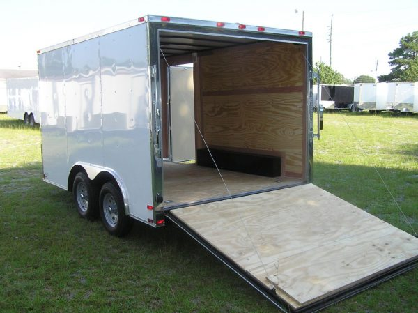 8.5x12 TA Trailer - White, Ramp, Side Door, and D-Rings