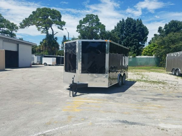 8.5x14 TA Trailer - Black, Ramp, Side Door, and D-Rings