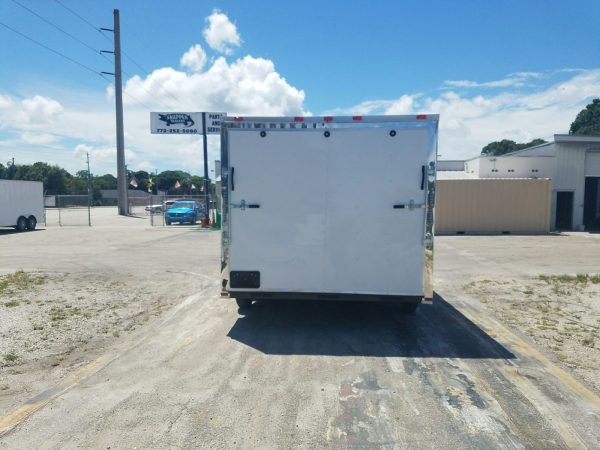 8.5x14 TA Trailer - White, Ramp, Side Door, and D-Rings