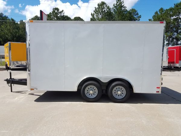 8.5x14 TA Trailer - White, Double Barn Doors, Side Door, Flat Front, Extended Tongue, Electrical Package, Interior Lining