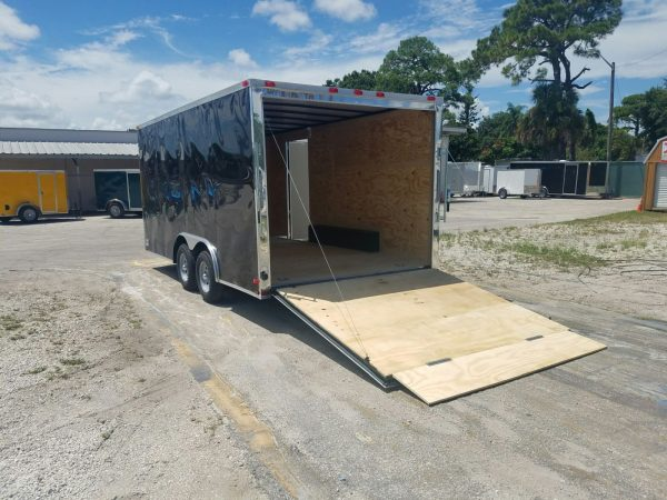 8.5x16 TA Trailer - Black, Ramp, Side Door, and D-Rings