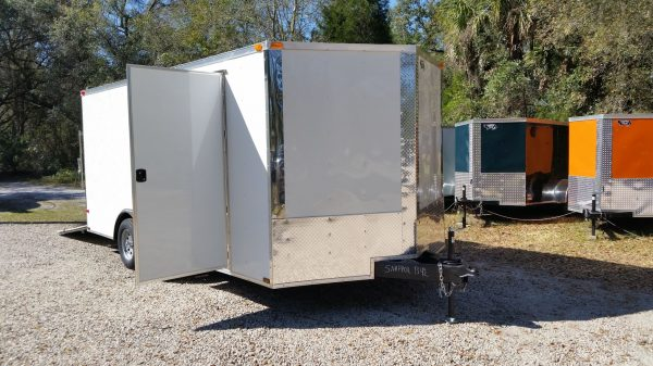 8.5x16 TA Trailer - White, Ramp, Side Door, and D-Rings