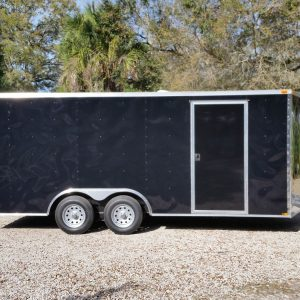 8.5x18 TA Trailer - Black, Ramp, Side Door, and D-Rings