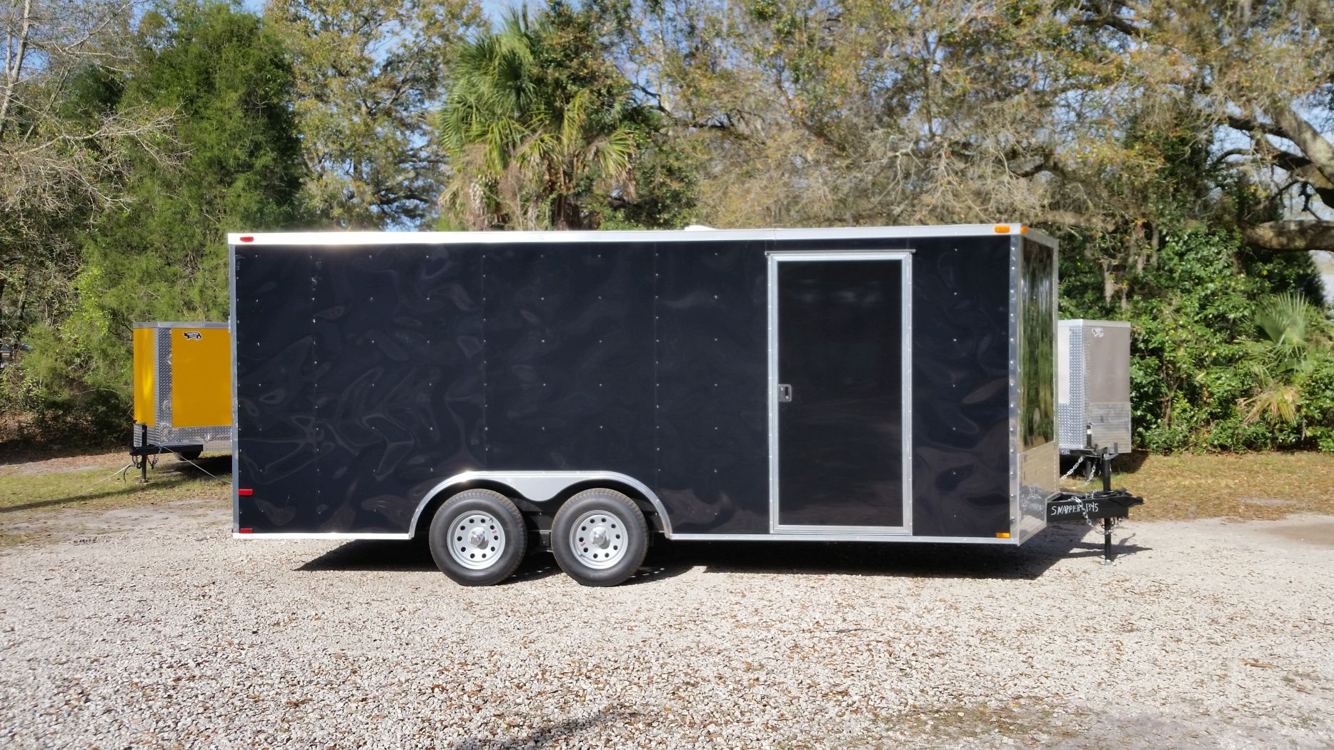 D And D Trailers >> 8 5x18 Ta Trailer Black Ramp Side Door And D Rings