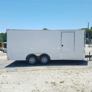 8.5x18 TA Trailer - White, Ramp, Side Door, and D-Rings