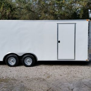 8.5x20 TA Trailer - White, Ramp, Side Door, and D-Rings