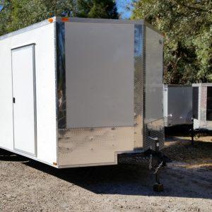 8.5x20 TA Trailer - White, Ramp, Side Door, D-Rings, 5K Axles, Radials, Extra Height