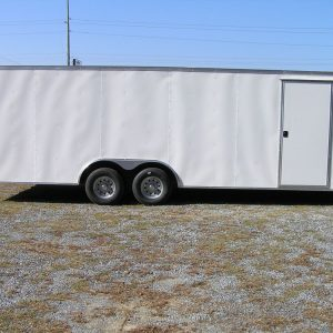 8.5x24 TA Trailer - White, Ramp, Side Door, D-Rings, 5K Axles, and Radials