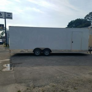 8.5x24 TA Trailer - White, Ramp, Side Door, D-Rings, 5K Axles, Extra Height, and Radials