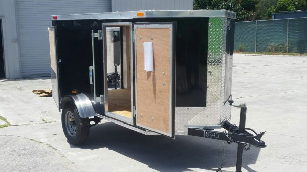 4x8 SA Trailer - Black, Single Door, Side Door