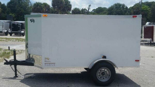 4x8 SA Trailer - White, Single Door, Side Door, Radial Tires
