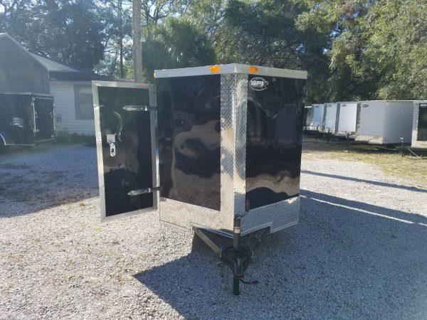 5x10 SA Trailer - Black, Double Doors, Side Door