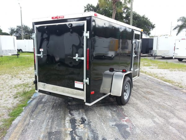 5x10 SA Trailer - Black, Ramp, Side Door, D-Rings