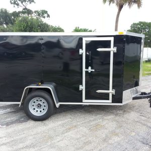 5x10 SA Trailer - Black, Ramp, Side Door, D-Rings