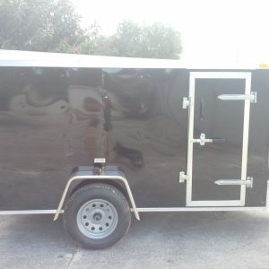 5x10 SA Trailer - Black, Ramp, Side Door