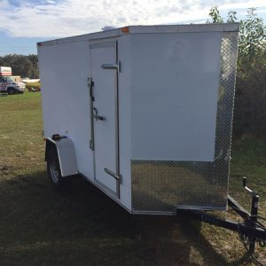 5x10 SA Trailer - White, Double Doors, Side Door, Extra Height