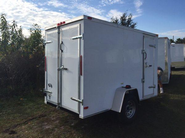 5x10 SA Trailer - White, Double Doors, Side Door, Extra Height