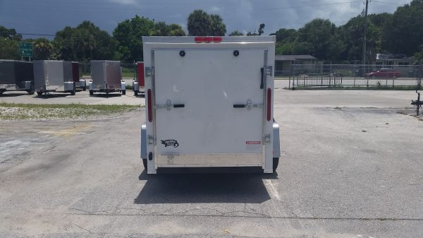 5x10 SA Trailer - White, Ramp, Side Door, and D-Rings