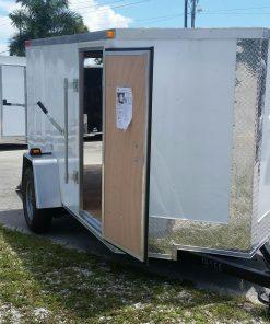 5x10 SA Trailer - White, Ramp, Side Door