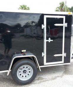 5x8 SA Trailer - Black, Double Doors, Side Door