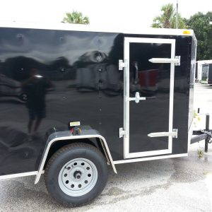 5x8 SA Trailer - Black, Double Doors, Side Door