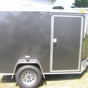 5x8 SA Trailer - Charcoal Gray, Double Doors, Side Door, Extra Height, Generator Box
