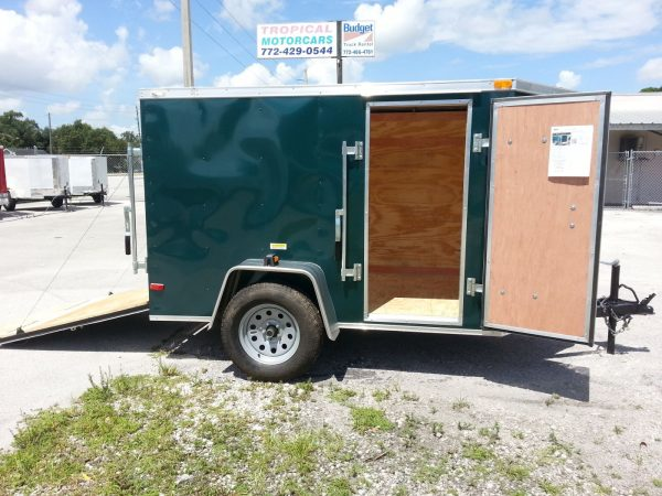 5x8 SA Trailer - Green, Ramp, Side Door
