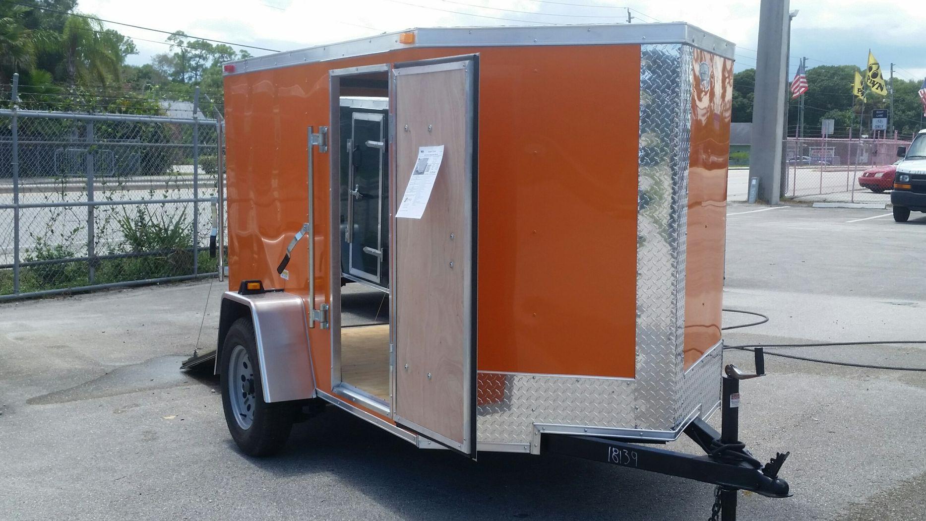 5x8 SA Trailer - Orange, Ramp, Side Door