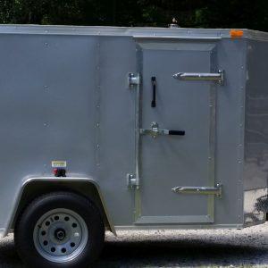 Custom 5x8 SA Trailer - Silver Frost, Double Barn Doors, Side Door, Stab Jacks