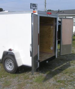 5x8 SA Trailer - White, Double Doors, Extra Height, Side Vents
