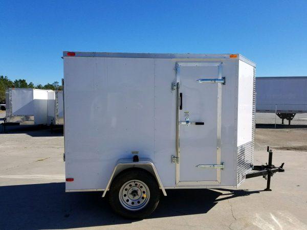 5x8 SA Trailer - White, Ramp, Side Door, Additional Height