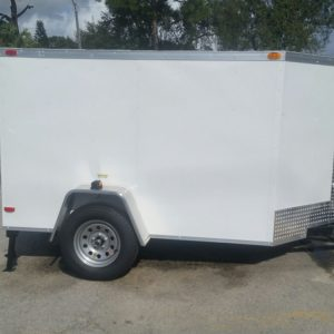 5x8 SA Trailer - White, Ramp, Stabilizer Jacks, D-Rings